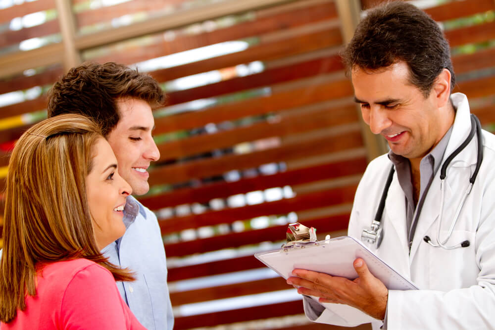Patients at the hospital consulting a doctor